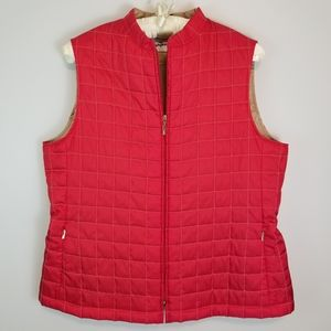 Avitano XL Red Tan Thin Quilted Sleeveless Vest